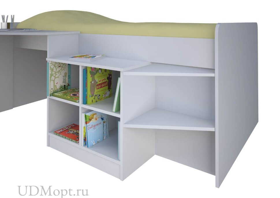 Кровать-чердак детская Polini kids Simple со столом и полками 4000, белый оптом и в розницу