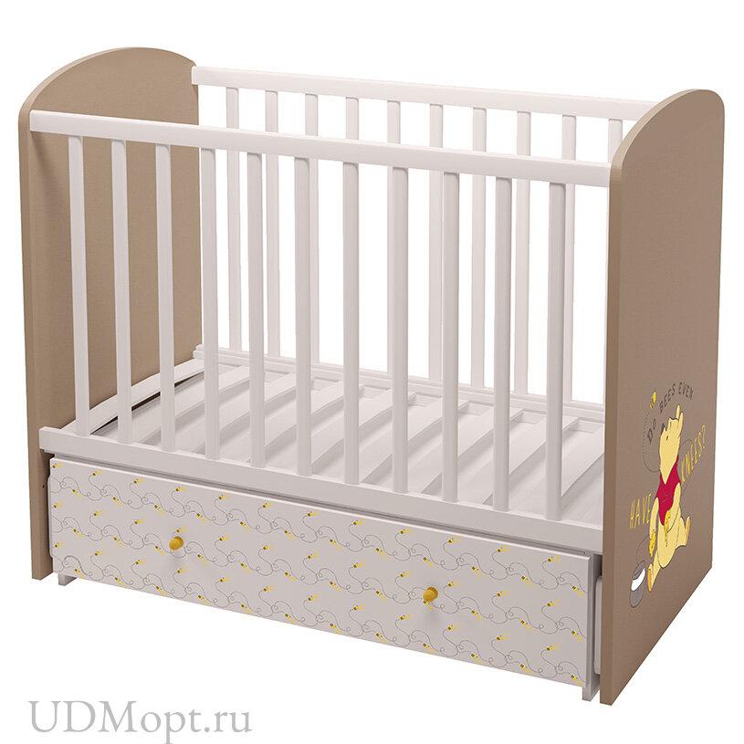 """Кроватка детская Polini kids Disney baby 750 """"Медвежонок Винни и его друзья"""", белый-макиато оптом и в розницу"""