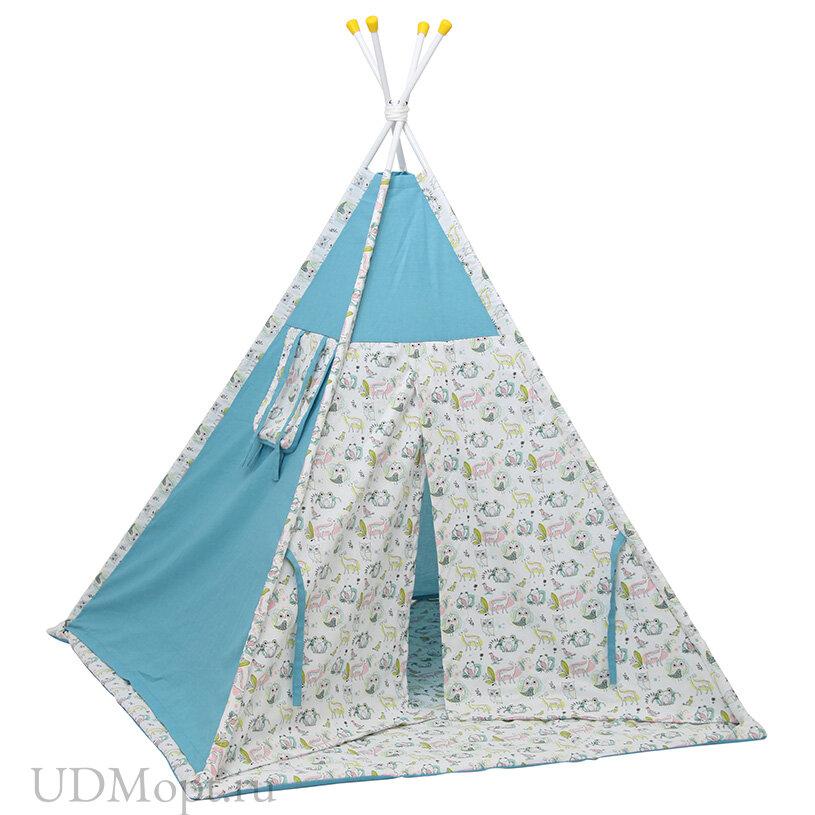 Палатка-вигвам детская Polini kids Disney Последний богатырь, лес голубой оптом и в розницу