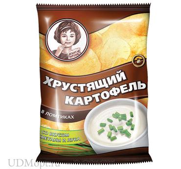 «Хрустящий картофель», чипсы со вкусом сметаны и лука, произведены из свежего картофеля, 70г оптом и в розницу