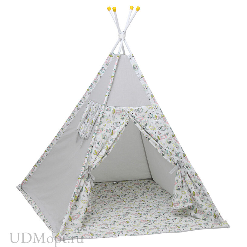 Палатка-вигвам детская Polini kids Disney Последний богатырь, лес серый  оптом и в розницу