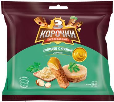 «3 Корочки», сухарики со вкусом холодца с хреном и горчицей, 85г оптом и в розницу