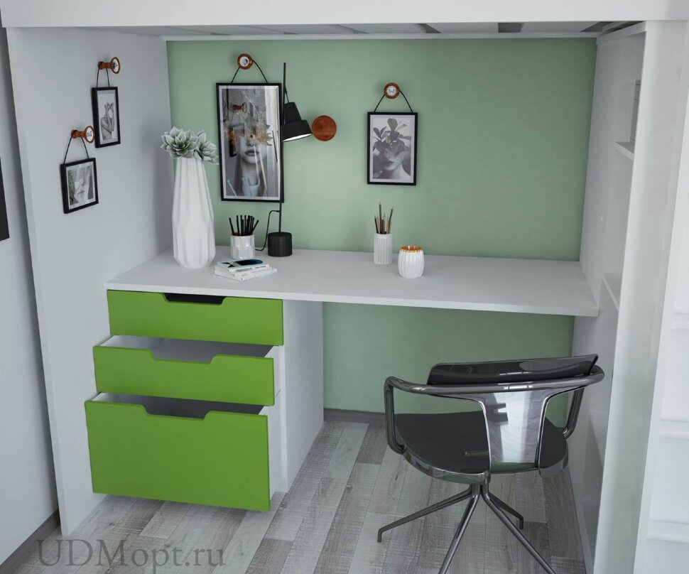 Кровать-чердак Polini kids Simple с письменным столом и шкафом, белый-лайм МДФ оптом и в розницу