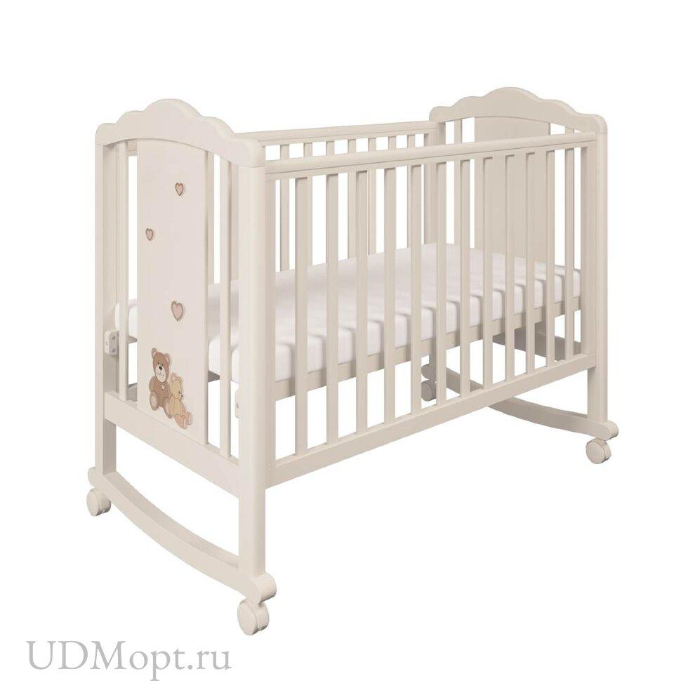 Кроватка детская Polini kids 621 бежевый-макиато Плюшевые Мишки оптом и в розницу