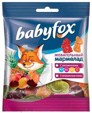 «BabyFox», мармелад жевательный с соком ягод и фруктов, 30г оптом и в розницу