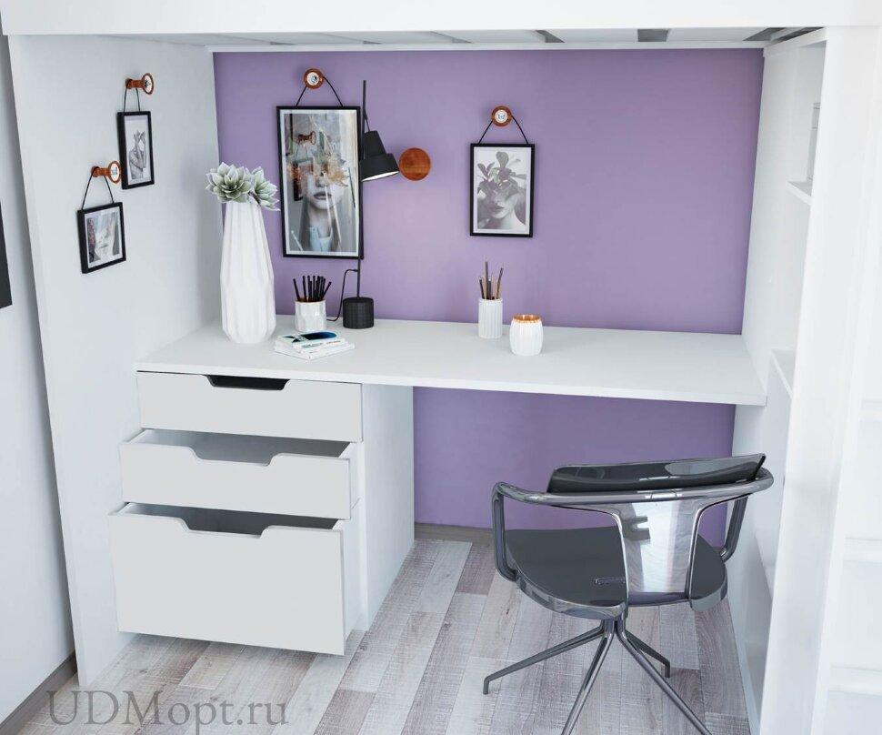 Кровать-чердак Polini kids Simple с письменным столом и шкафом, белый МДФ оптом и в розницу