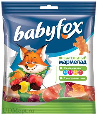 «BabyFox», мармелад жевательный с соком ягод и фруктов, 70г оптом и в розницу