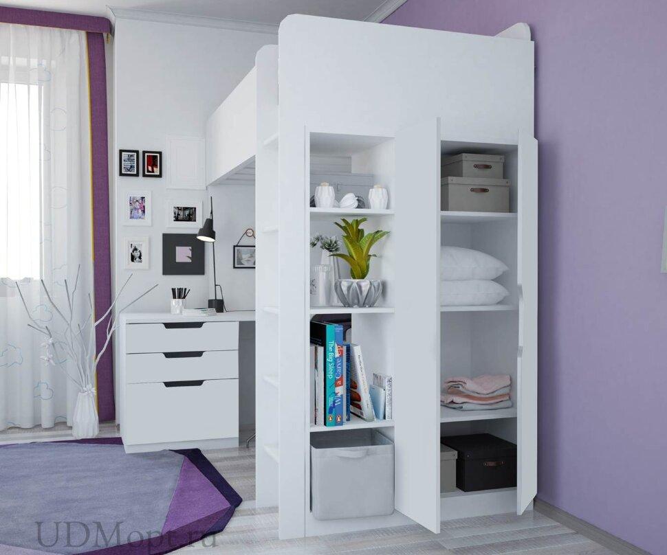 Кровать-чердак Polini kids Simple с письменным столом и шкафом, белый оптом и в розницу
