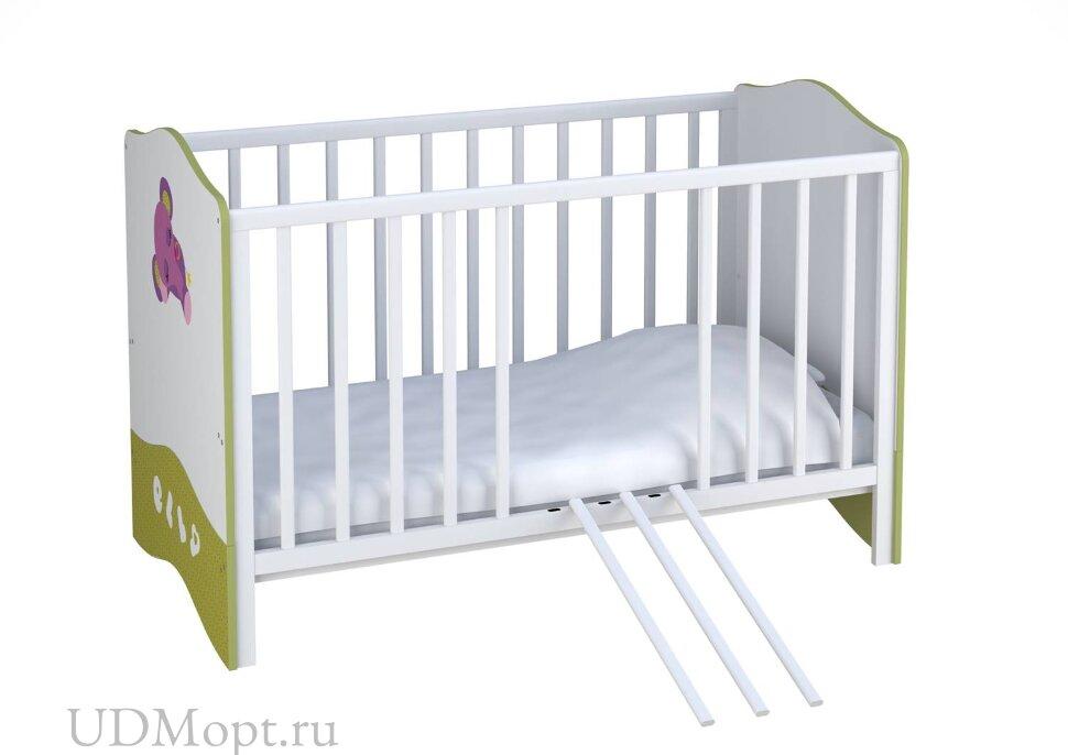 Кроватка детская Polini kids Basic Elly 140х70 белый-зеленый  оптом и в розницу