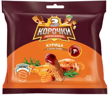 «3 Корочки», сухарики со вкусом курицы и соусом терияки, 85г оптом и в розницу