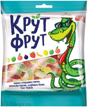 «КрутФрут», мармелад жевательный в форме забавных змеек в кислой посыпке, 70г оптом и в розницу
