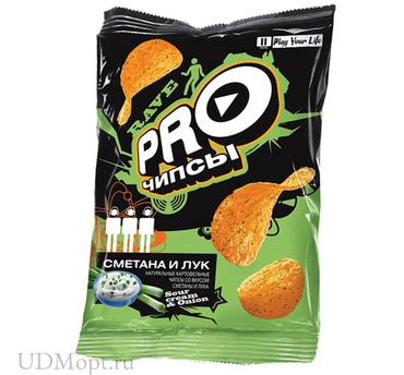 «PRO-Чипсы», чипсы со вкусом сметаны и лука, произведены из свежего картофеля, 60г оптом и в розницу