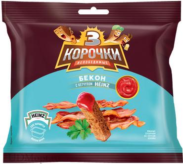 «3 Корочки», сухарики со вкусом бекона и кетчупом «Heinz», 85г оптом и в розницу