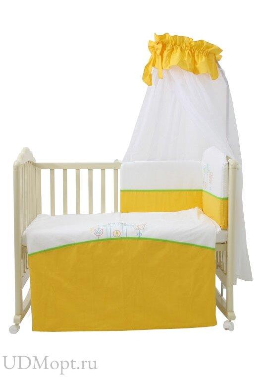 """Комплект в кроватку Fairy """"Волшебная полянка"""" 7 предметов, желтый оптом и в розницу"""