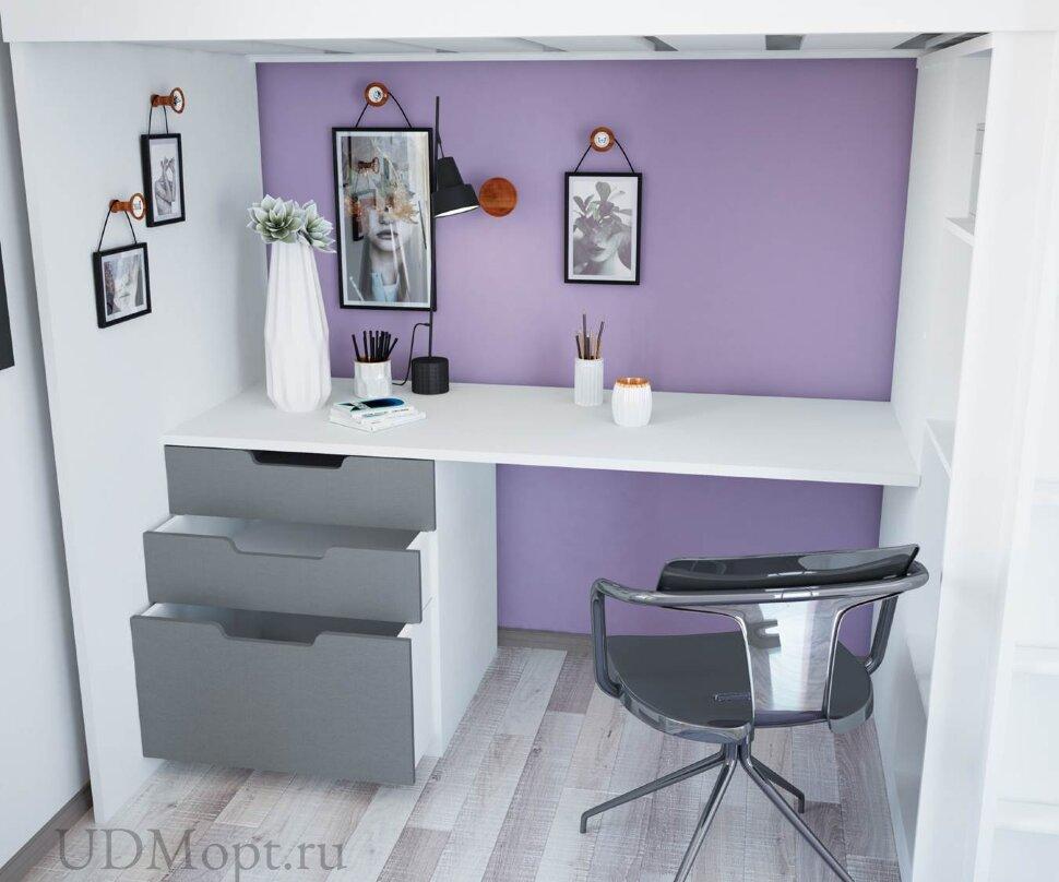 Кровать-чердак Polini kids Simple с письменным столом и шкафом, белый-серый оптом и в розницу