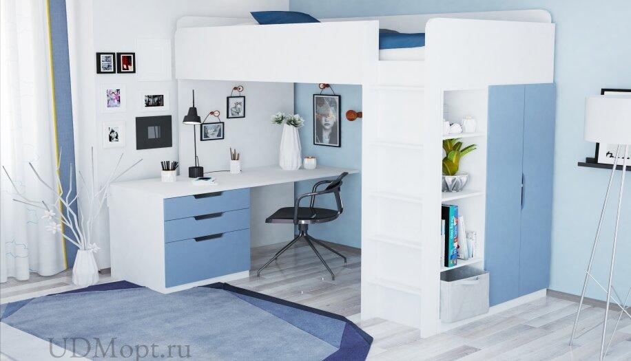 Кровать-чердак Polini kids Simple с письменным столом и шкафом, белый-синий оптом и в розницу