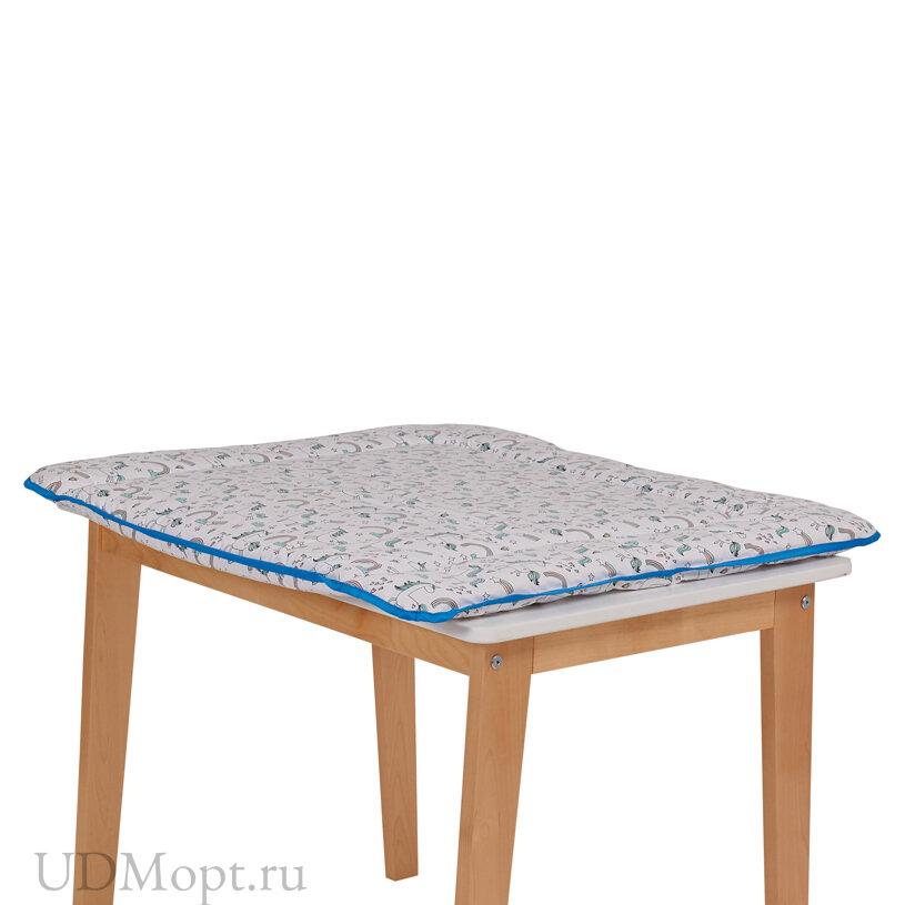 Матрас для пеленания Polini kids Единорог Радуга на комод, 77х72 см, голубой оптом и в розницу