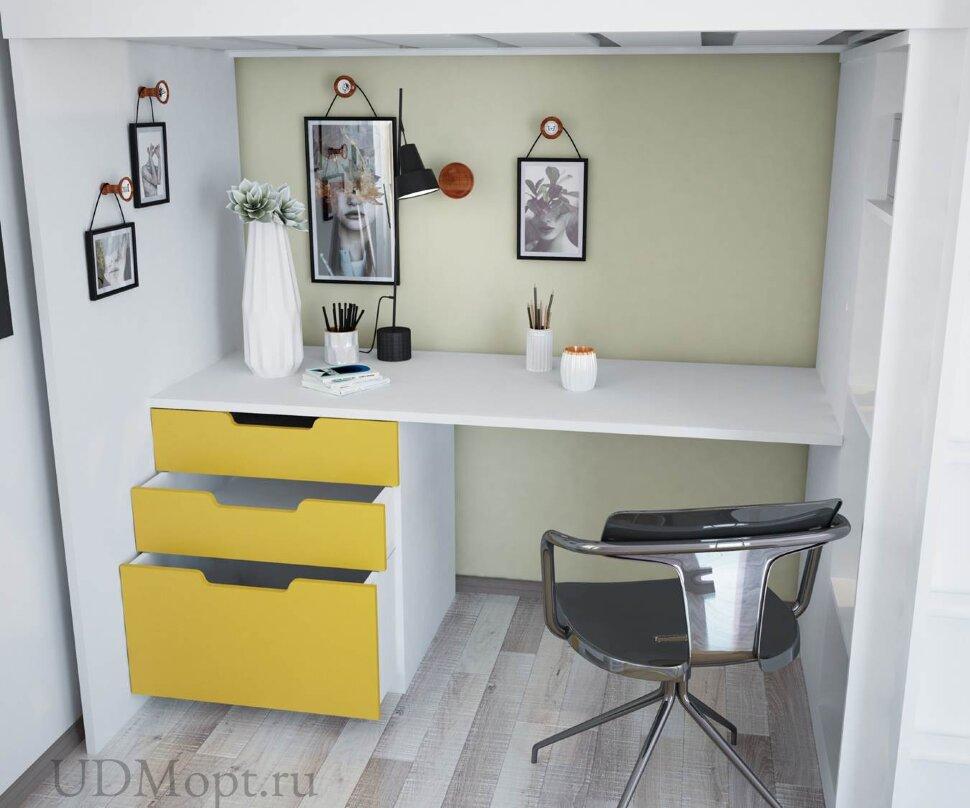 Кровать-чердак Polini kids Simple с письменным столом и шкафом, белый-солнечный оптом и в розницу
