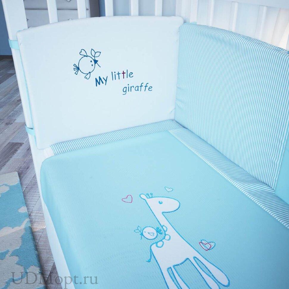 """Комплект в кроватку Fairy """"Жирафик"""" 7 предметов, голубой оптом и в розницу"""