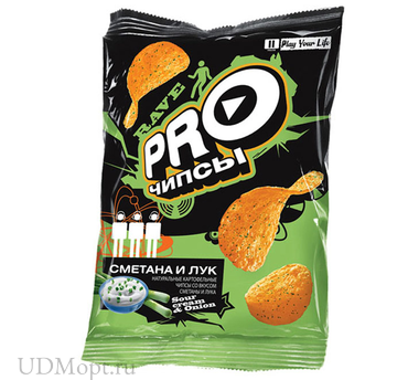 «PRO-Чипсы», чипсы со вкусом сметаны и лука, произведены из свежего картофеля, 150г оптом и в розницу