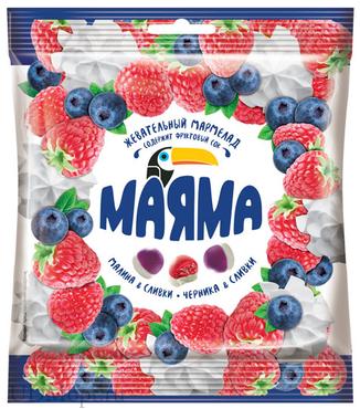 «Маяма», мармелад жевательный с желейной начинкой со вкусом черники и малины со сливками, 70г оптом и в розницу