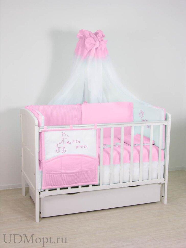 """Комплект в кроватку Fairy """"Жирафик"""" 7 предметов, розовый оптом и в розницу"""