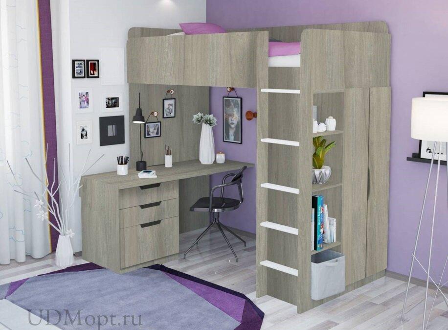 Кровать-чердак Polini kids Simple с письменным столом и шкафом, вяз оптом и в розницу