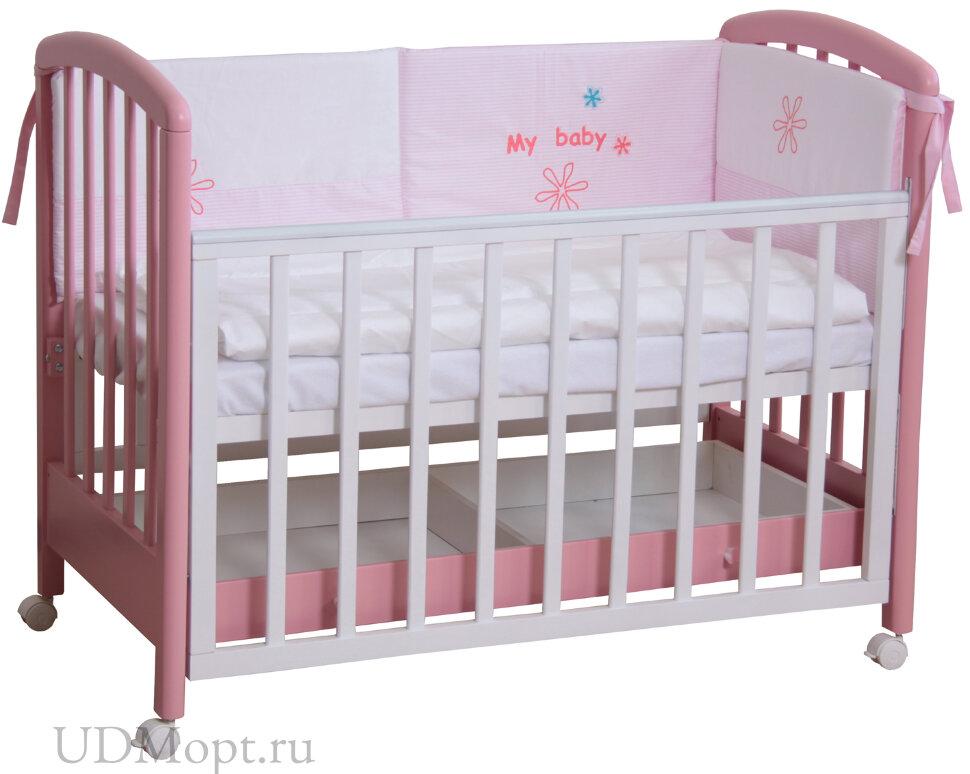 Кровать детская Фея 600 белый-розовый оптом и в розницу