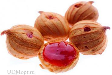 Печенье «Заварные пышечки»  с клубничным джемом (коробка 2кг) оптом и в розницу
