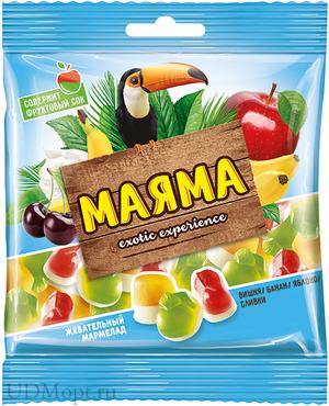 «Маяма», мармелад жевательный со вкусами банана, яблока, вишни со сливками, 70г оптом и в розницу