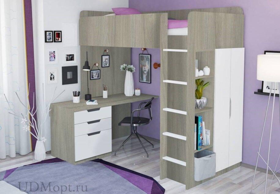 Кровать-чердак Polini kids Simple с письменным столом и шкафом, вяз-белый оптом и в розницу