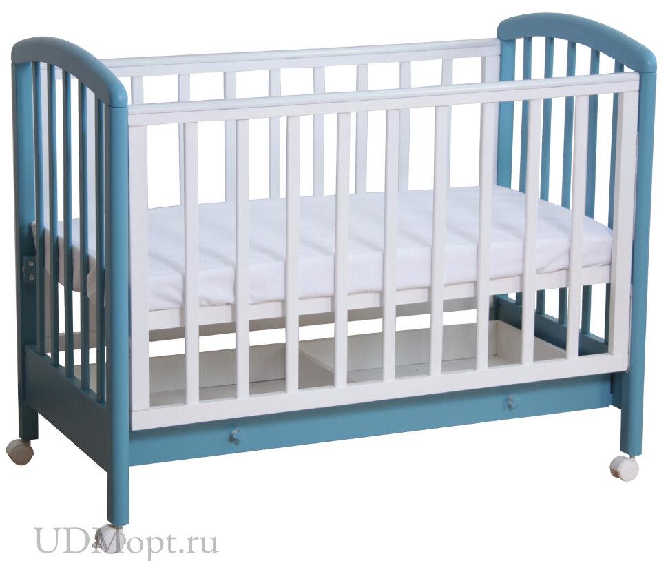Кровать детская Фея 600 белый-синий капри оптом и в розницу
