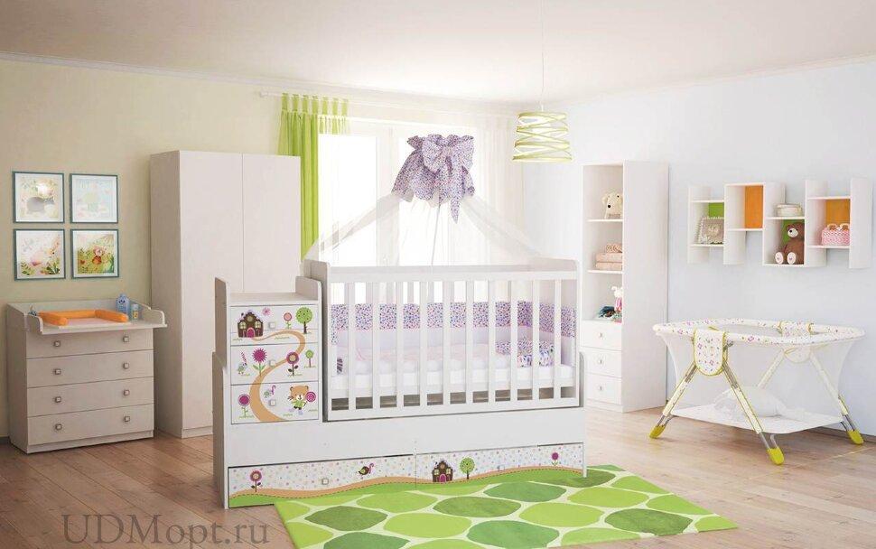 Кроватка детская Polini kids Simple 1100 Пряничный домик, белый  оптом и в розницу