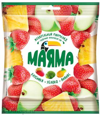 «Маяма», мармелад жевательный в форме ягод и фруктов, 70г оптом и в розницу