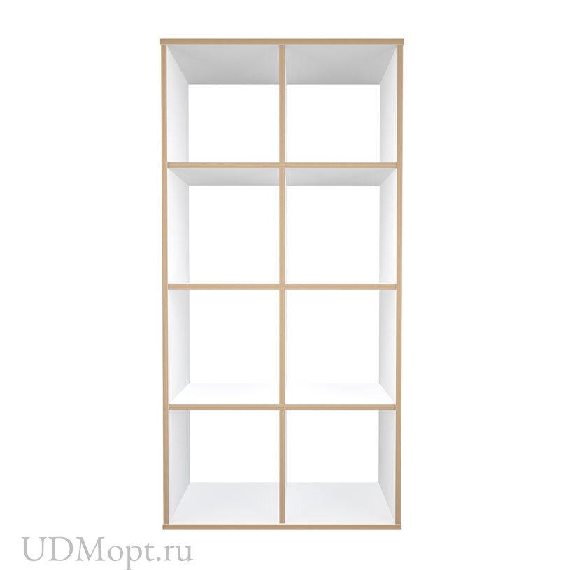 Стеллаж Polini Home Smart Кубический 8 секции, белый, эффект фанеры оптом и в розницу