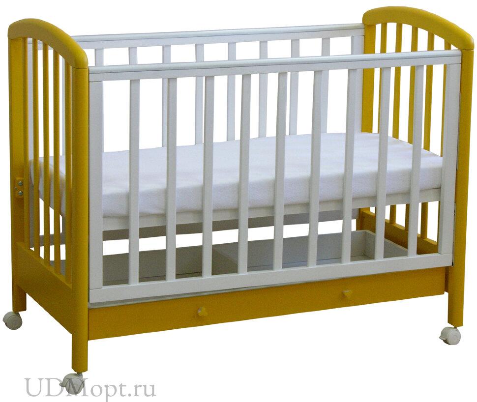 Кровать детская Фея 600 белый-солнечный оптом и в розницу