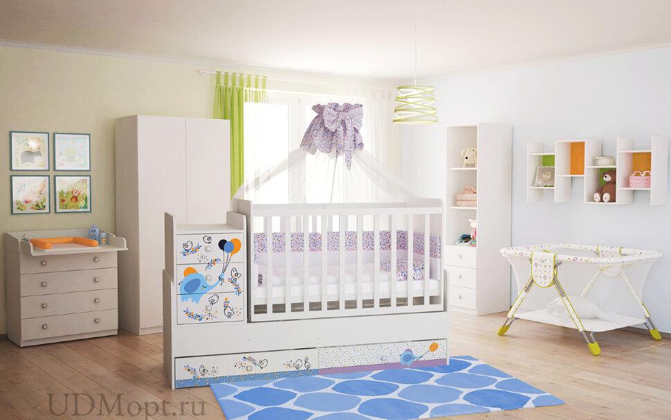 Кроватка детская Polini kids Simple 1100 Слоник на шаре, белый  оптом и в розницу