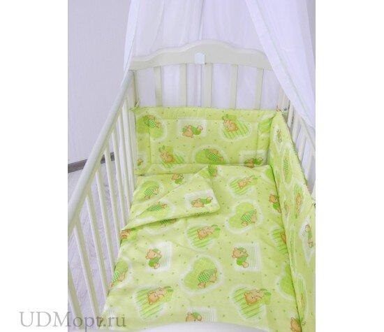 """Комплект в кроватку Фея """"Мишки"""" 10 предметов, зеленый оптом и в розницу"""