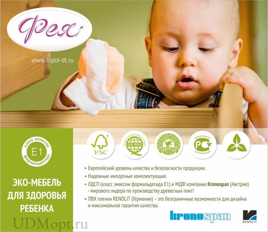 Кровать детская Фея 1000 клён оптом и в розницу