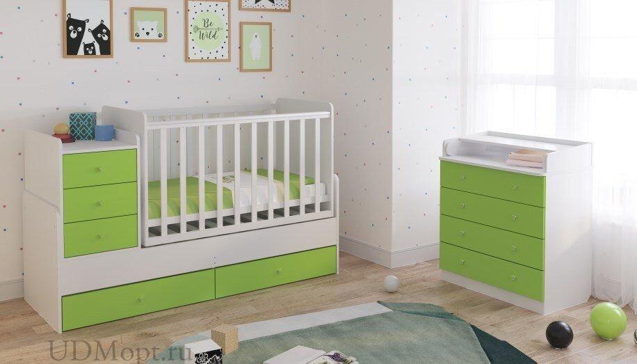 Кроватка детская Polini kids Simple 1111 с комодом, белый-лайм оптом и в розницу