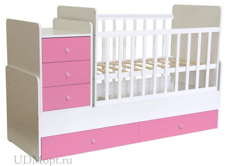 Кроватка детская Polini kids Simple 1111 с комодом, белый-роза оптом и в розницу