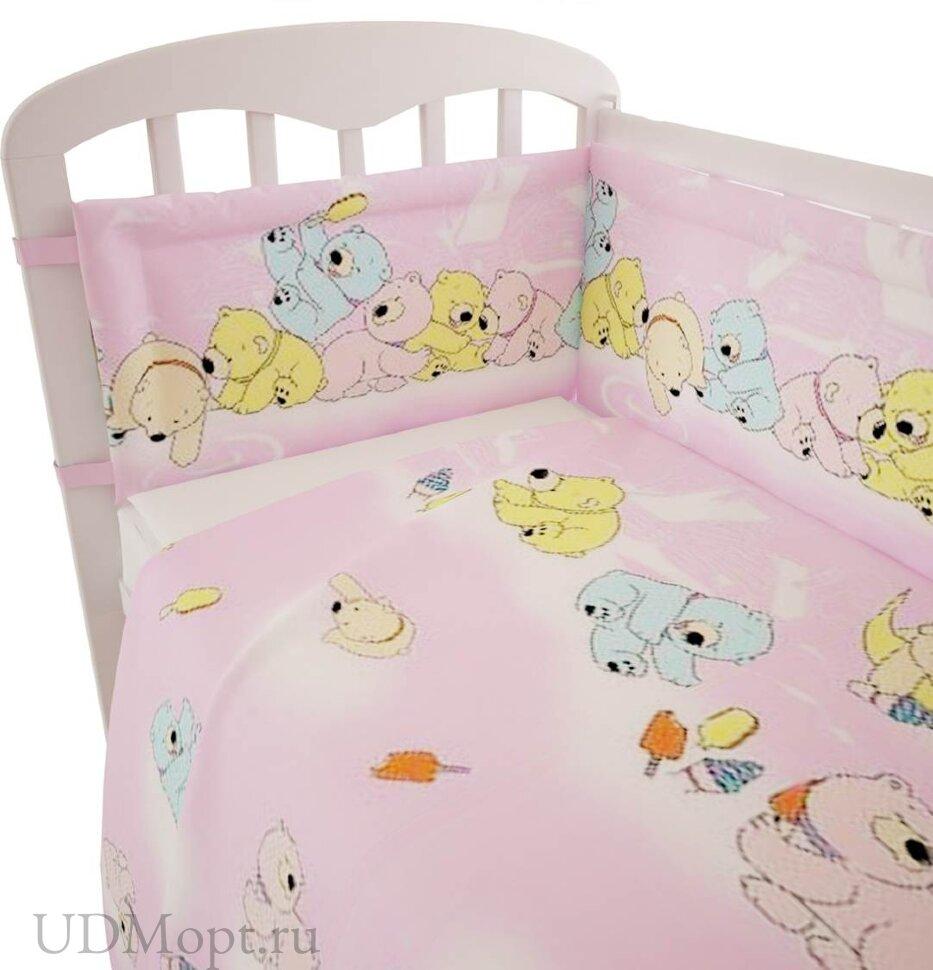 """Комплект в кроватку Фея """"Мишки"""" 3 предмета, розовый оптом и в розницу"""