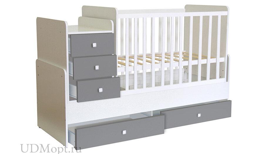 Кроватка детская Polini kids Simple 1111 с комодом, белый-серый оптом и в розницу