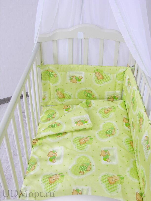 """Комплект в кроватку Фея """"Мишки"""" 3 предмета, зеленый оптом и в розницу"""