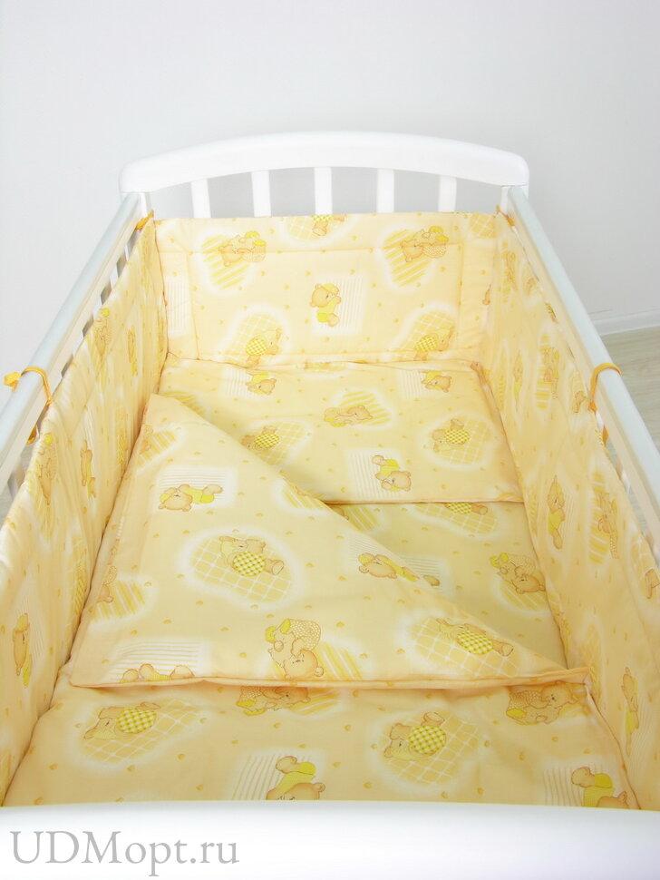 """Комплект в кроватку Фея """"Мишки"""" 3 предмета, желтый оптом и в розницу"""
