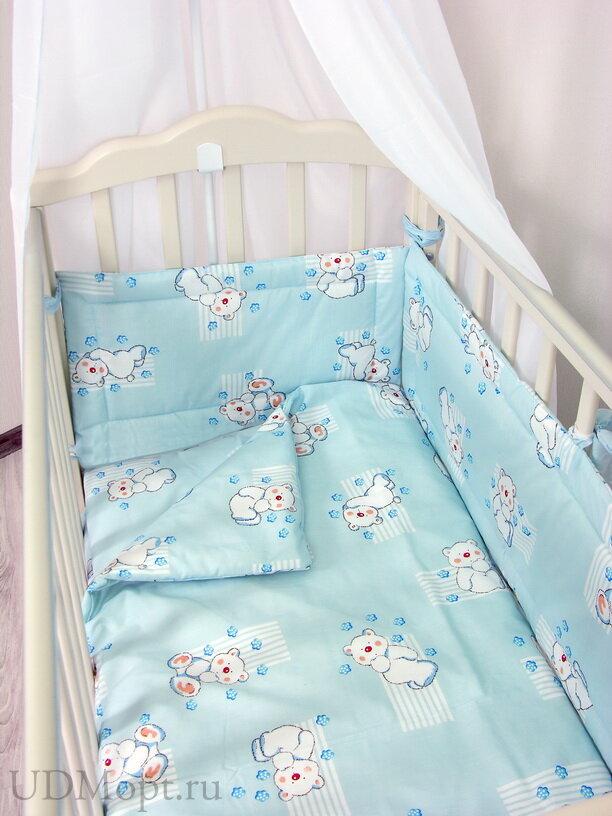 """Комплект в кроватку Фея """"Мишки"""" 4 предмета, голубой оптом и в розницу"""