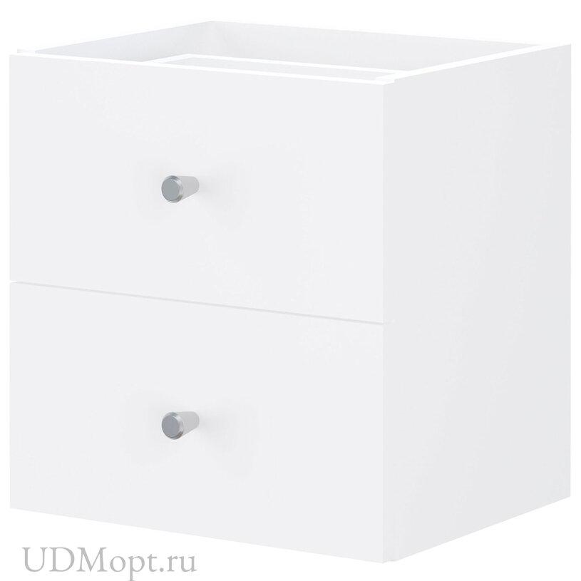 Элемент встраиваемый с 2 ящиками для стеллажа Polini Home Smart, белый оптом и в розницу