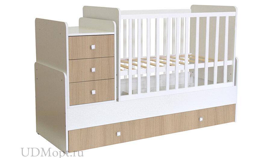 Кроватка детская Polini kids Simple 1111 с комодом, белый-ваниль оптом и в розницу