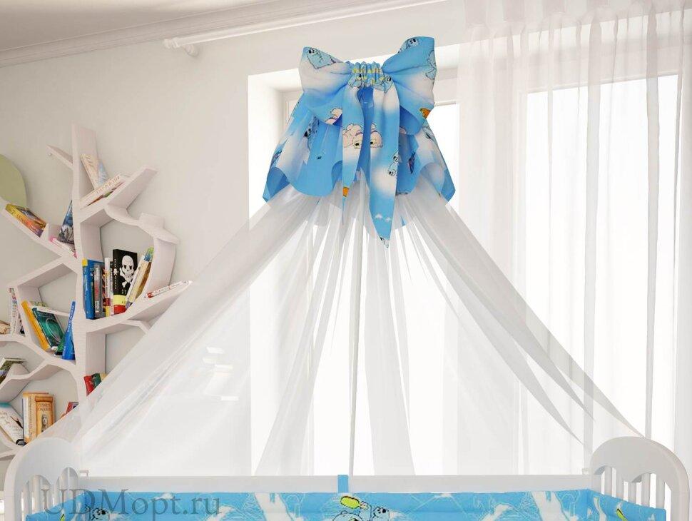 """Балдахин для комплекта постельного белья Polini kids """"Мишки"""", голубой оптом и в розницу"""
