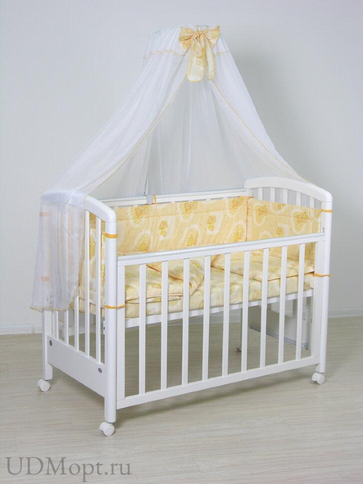 """Комплект в кроватку Фея """"Мишки"""" 4 предмета, желтый оптом и в розницу"""
